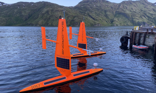 Two sail drones awaiting deployment from Dutch Harbor, AK.